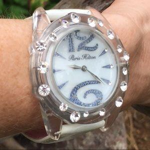 Paris Hilton White/Clear/Gemmed Fashion Watch